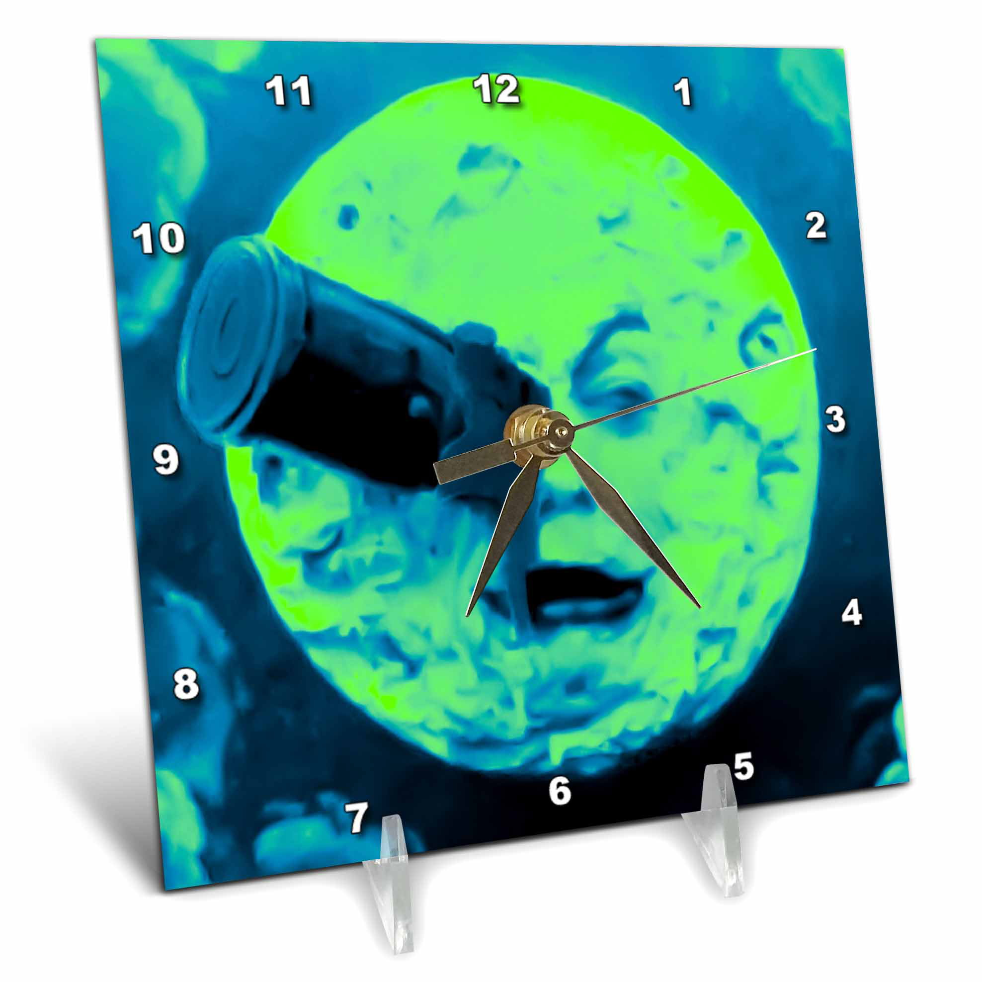 3dRose A Trip to the Moon (Neon Blue Green Fuzzed), Desk Clock, 6 by 6-inch by 3dRose