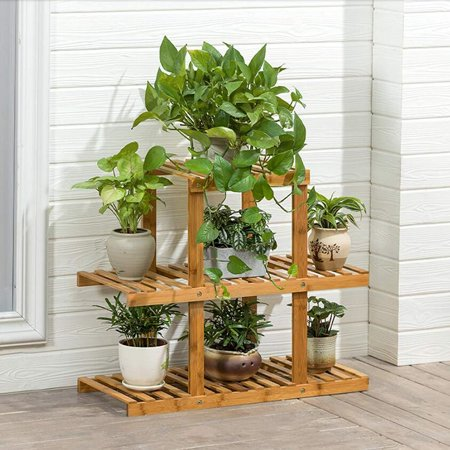 Magshion Wooden Flower Stands Plant Display Rack Choose 3 Shelves ()