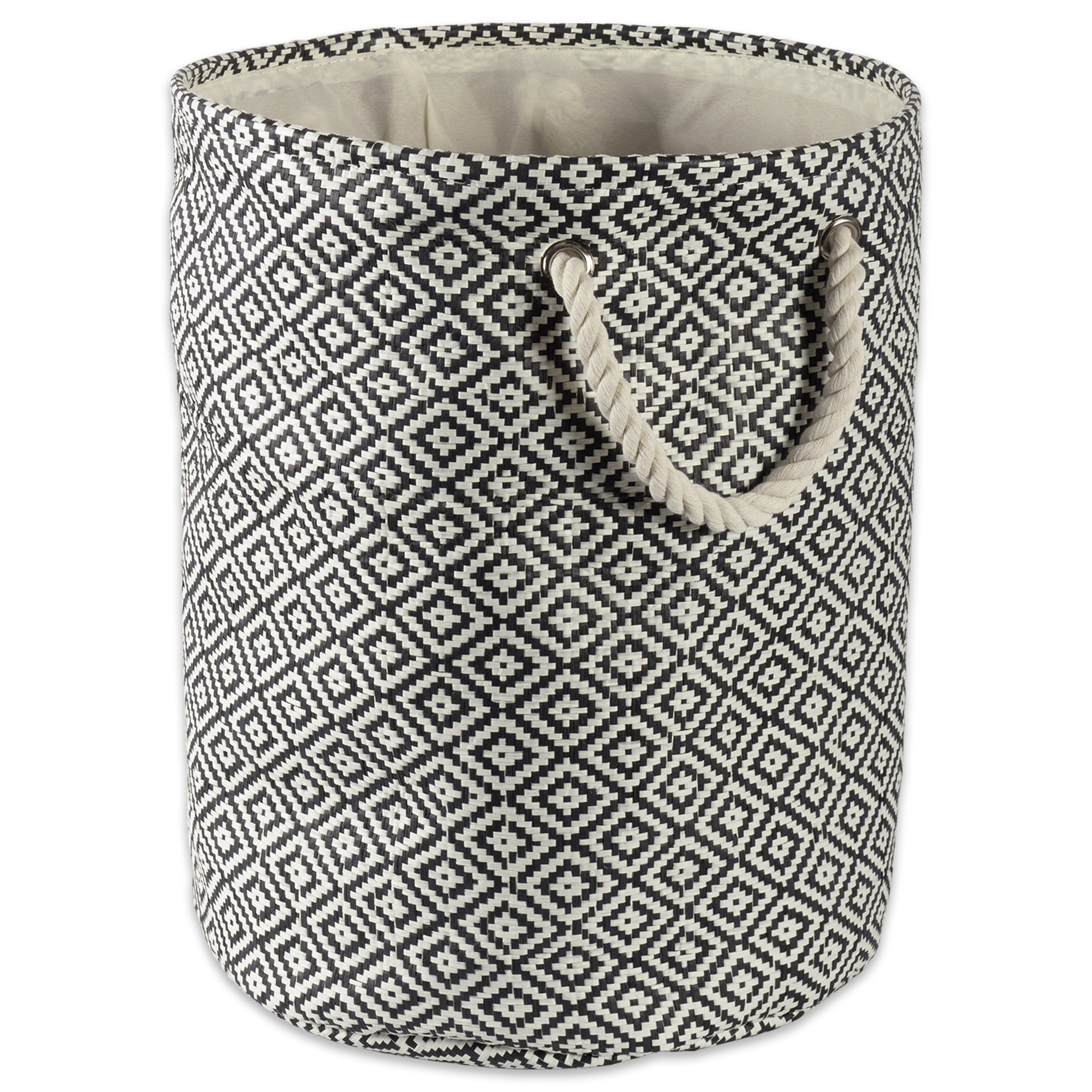 "Design Imports Paper Bin Geo Diamond Black Round Small, 14""x14""x12"", 100% Natural Woven Paper, Black"