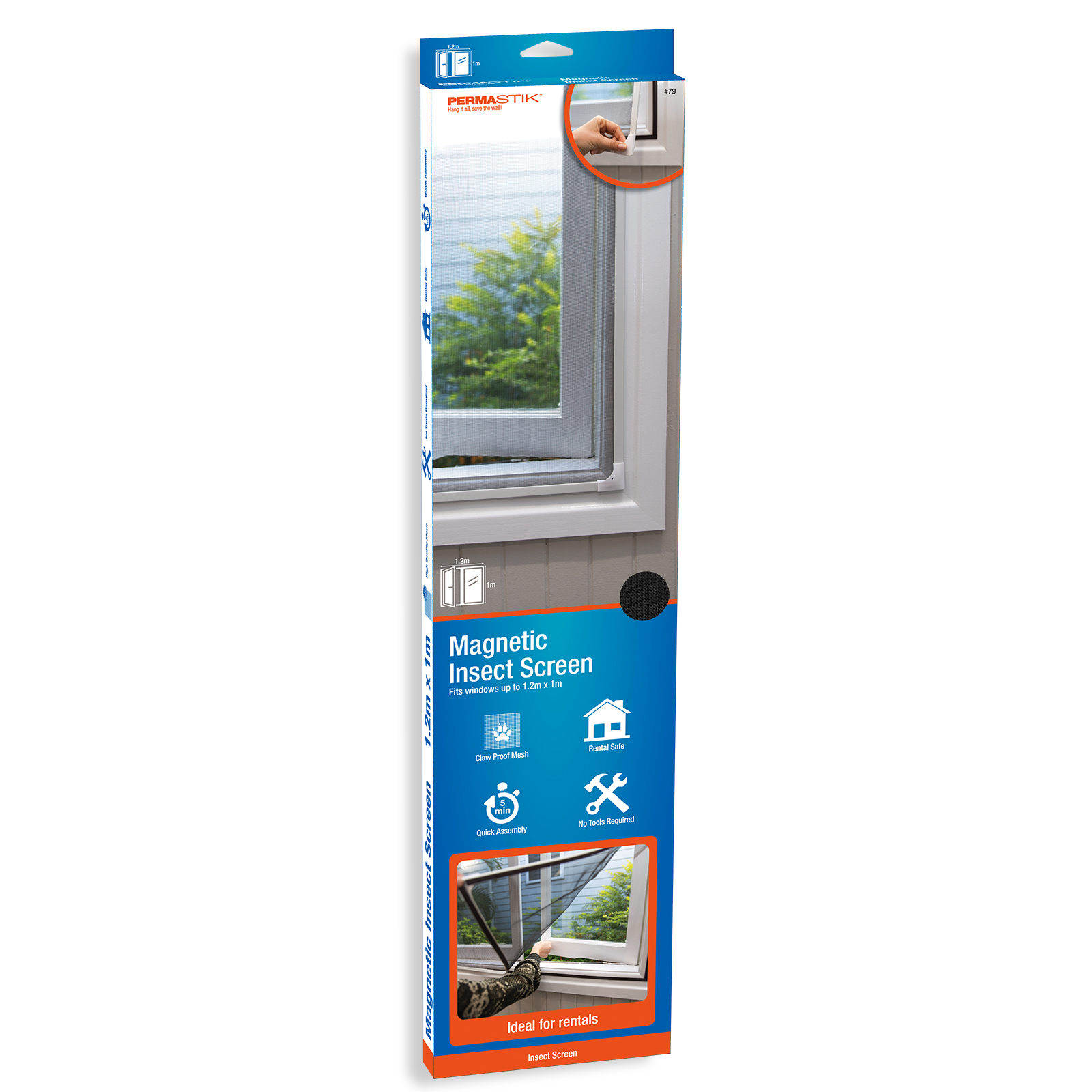 PermaStik Magnetic Insect Screen, Suitable for Windows up to 47.2 in x 39.3 in, Or cut down to suit smaller windows, Adhesive Mounting, Full Magnetic Seal, Durable Fly Screen Mesh