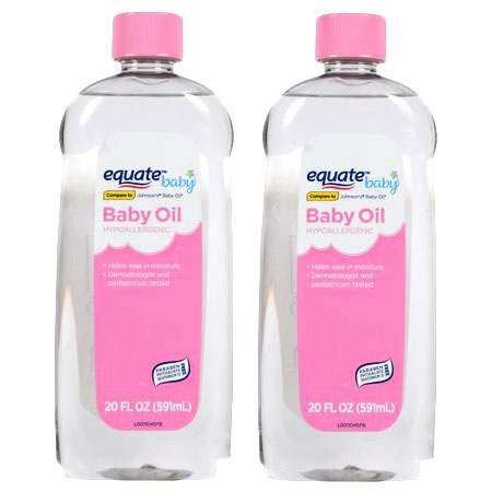 (2 Pack) Equate Baby Hypoallergenic Baby Oil, 20 Oz