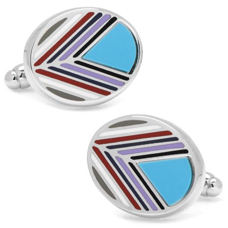 Ox and Bull NEW Men's Chevron Oval Turquoise Designer Dress Fashion Cufflinks