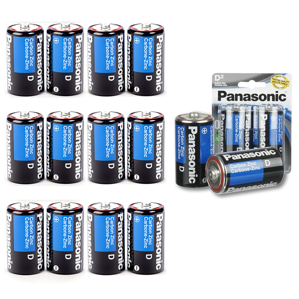 12 X Panasonic D Batteries Super Heavy Duty Carbon Zinc Battery 1.5V EXP. 2022