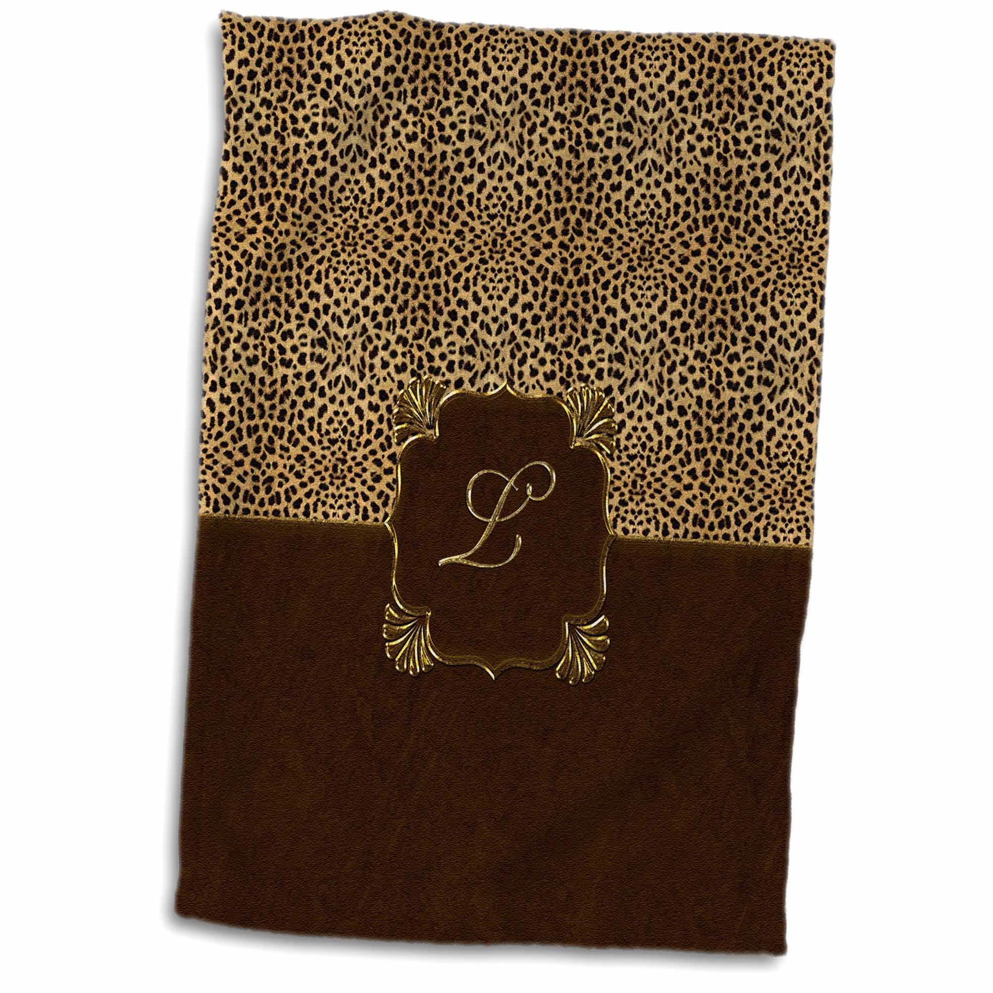 3dRose Elegant Animal Print in Warm Brown and Gold Monogram Letter L - Towel, 15 by 22-inch