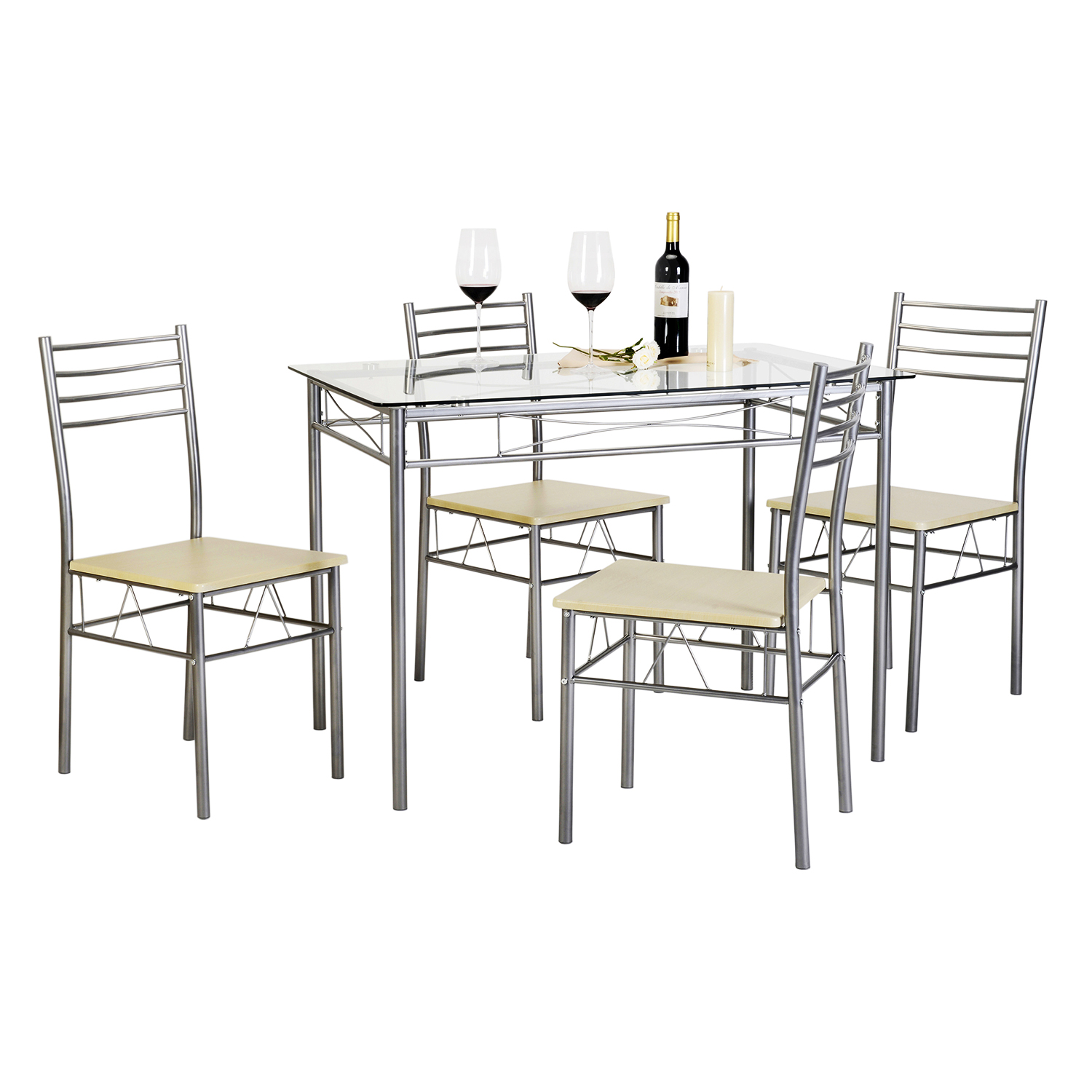 5 Pieces Dining Table Set with 4 Chairs Silver by