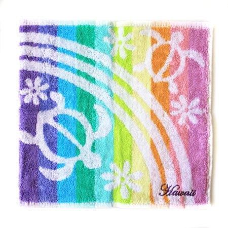 Hand Printed Cotton - Hawaiian Print Cotton Hand Towel in Double Turtles Print in Rainbow
