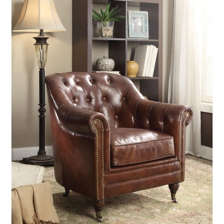 Vintage Dark Brown Leather Accent Chair Acme Furniture 53627 (Vintage Dark Brown Leather)
