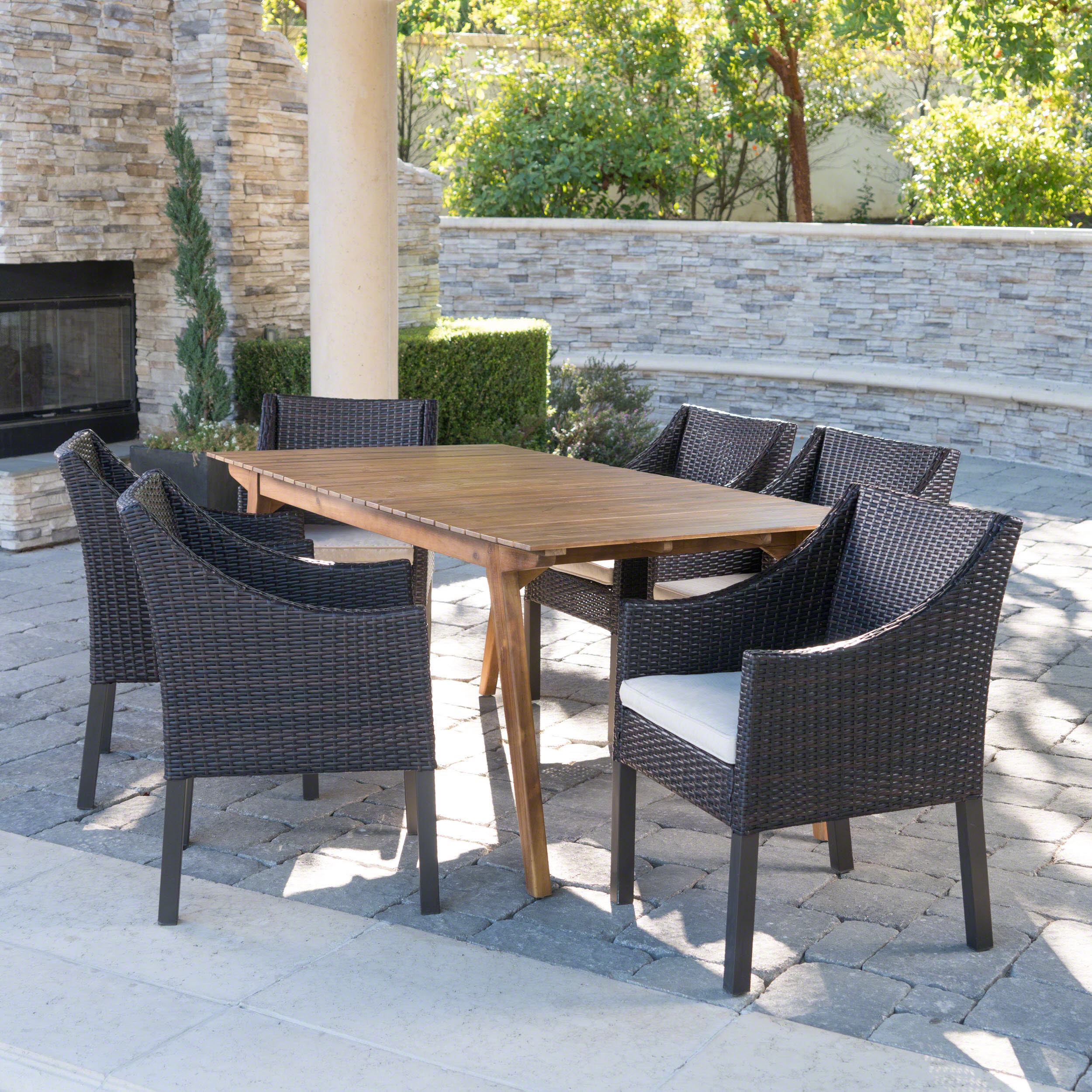 Visalia Outdoor 7 Piece Acacia Wood Rectangular Dining Set with Wicker Chairs and Water Resistant Cushions, Teak Finish