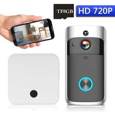 WiFi Smart Wireless Security DoorBell Smart HD 720P Visual Intercom Recording Video Door Phone Remote Home Monitoring Night Vision Built-in 8G TF Card with 1pcs Doorbell Chime