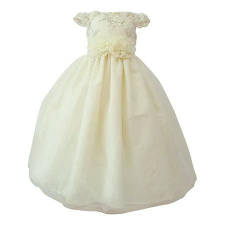 c26490b0a2f Little Girls Ivory Glitter Embroidered Floral Belt Flower Girl Dress ...