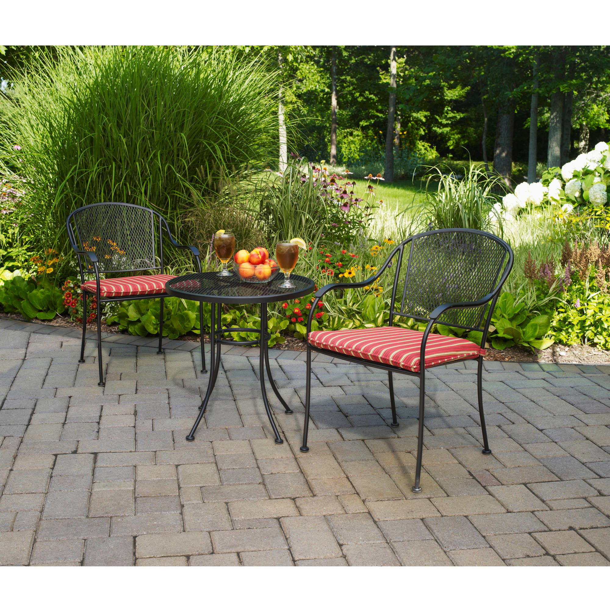 Mainstays Wrought Iron 3 Piece Outdoor Bistro Set Walmart Com