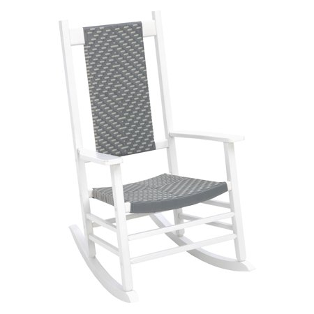 Magnificent Jack Post Knoll Wood Rocker With Wicker In White Gray Onthecornerstone Fun Painted Chair Ideas Images Onthecornerstoneorg