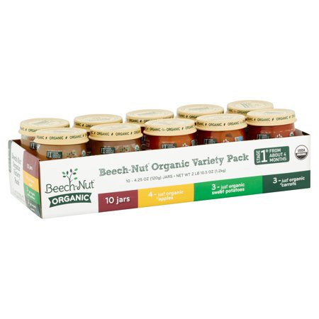 Beech-Nut Organic Stage 1 Baby Food Variety Pack, 4.25 oz, 10 count