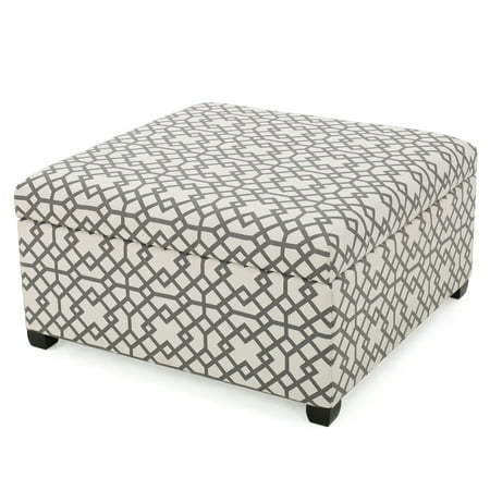 Khaite Patterned Fabric Storage Ottoman, Grey Geometric ()