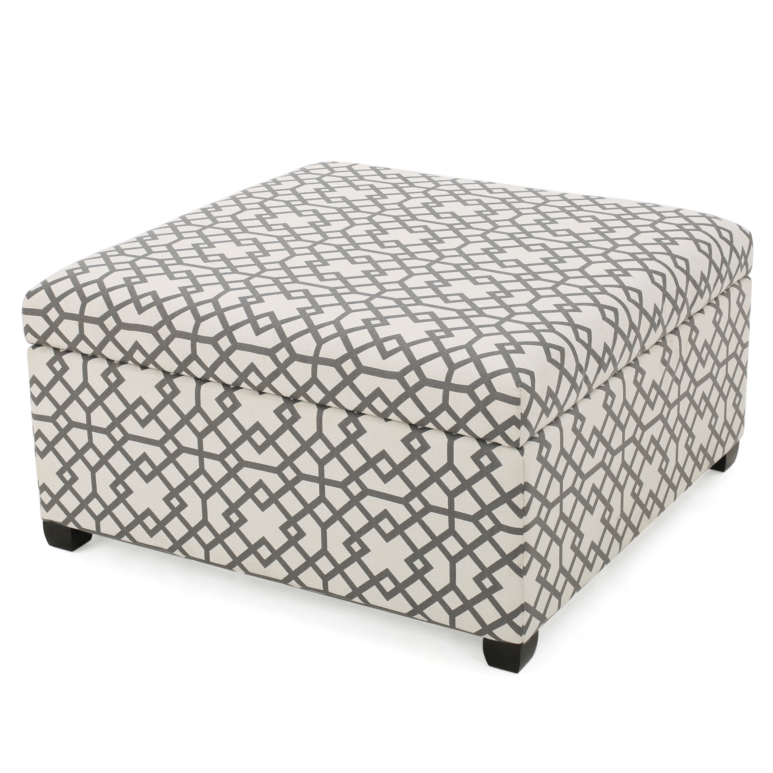 Khaite Patterned Fabric Storage Ottoman, Grey Geometric