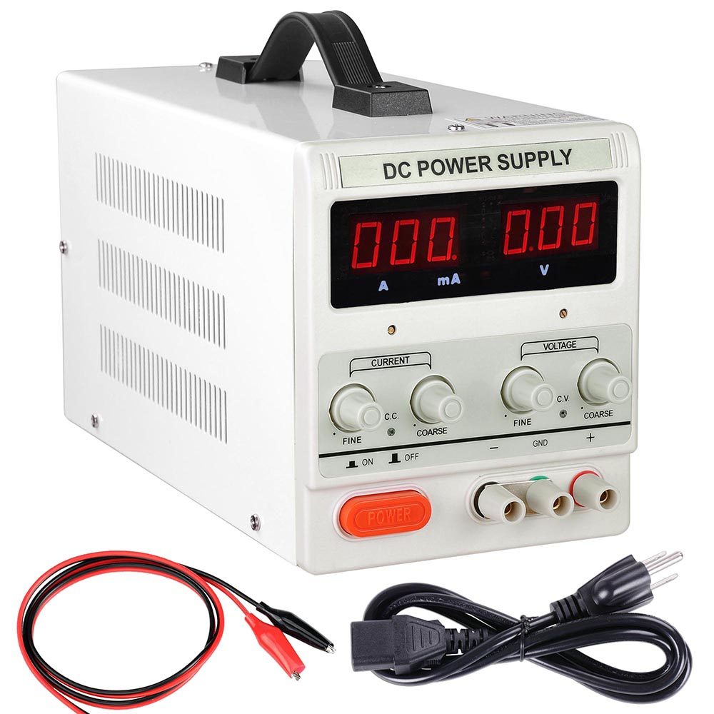 Yescom 110v Input 30v 5a Output Precision Variable Digital Dc Power Circuit Diagram Supply With Alligator Test Lead Set