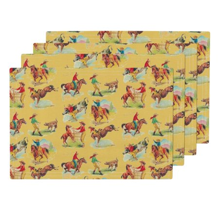 Cloth Placemats Vintage Western Cowboy Cowgirl Vintage Wild West Cowboy Set of 4 - Cowgirl Cloths