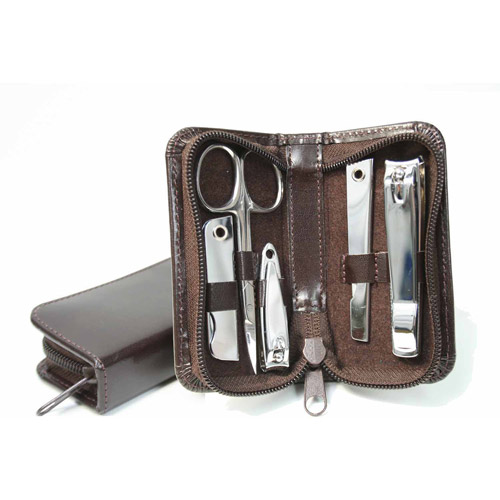 Royce Leather Manicure and Travel Grooming Set in Italian Bonded Leather