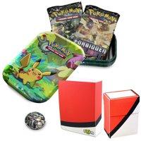 Totem World Pikachu Kanto Friends Mini Tin with Poke Ball Mini Binder & Deck Box Bundle - Perfect for Collectors Pokemon Cards