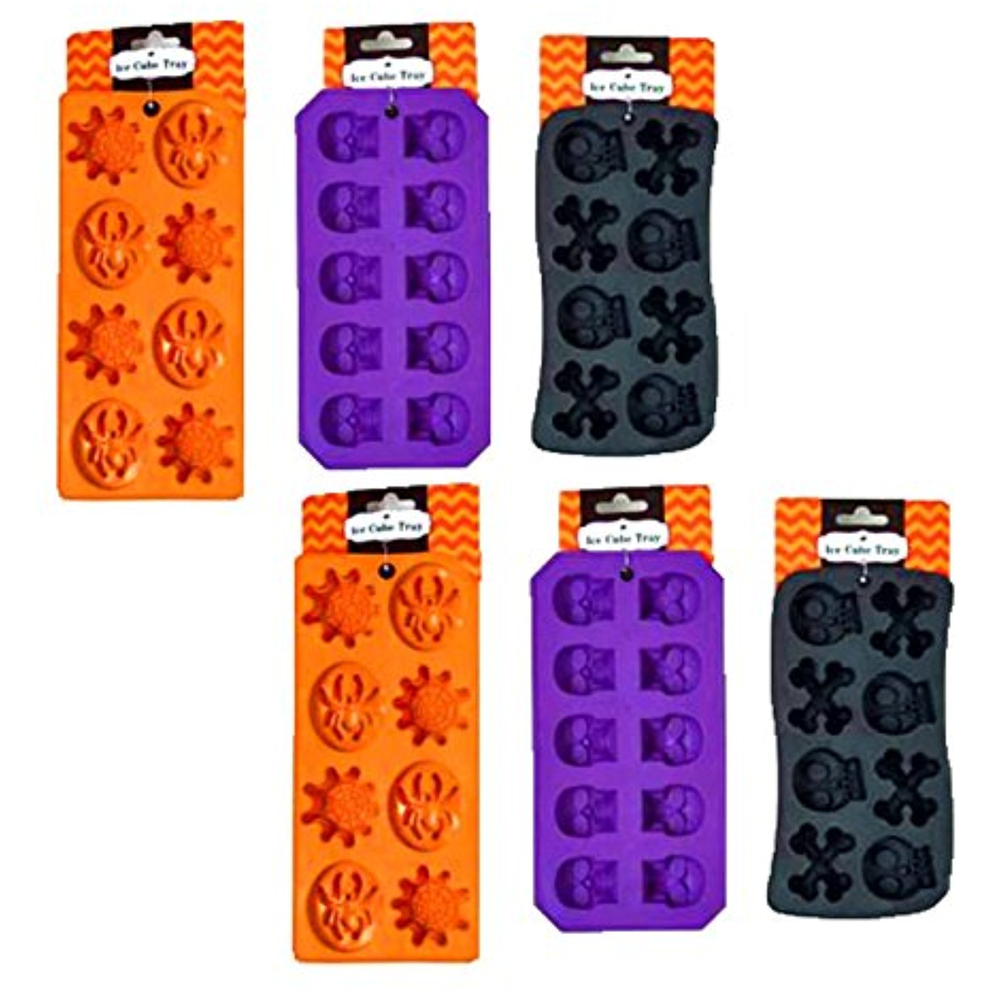 Set of 6 Spooky Halloween Shaped Ice Cube Tray / Food Molds - (2) skull and bones,(2) spider and webs,(2) skulls (6)