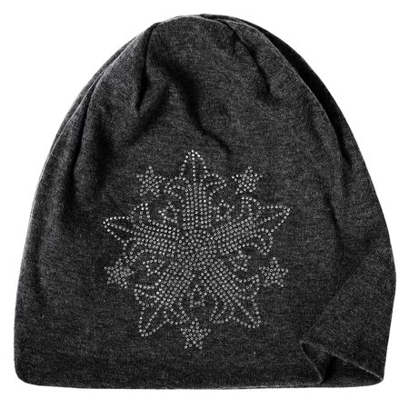 THZY Unisex Men Women Casual Rhinestone Beanie Skull Cap Hat Black-A03 One Size