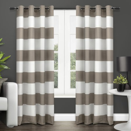 (Exclusive Home Surfside Cabana Striped Grommet Curtain Panel Pair)