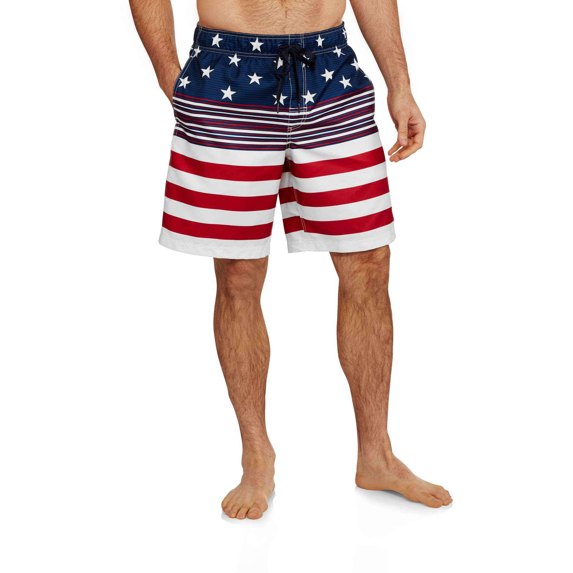 Big Men's Stars and Stripes Printed Swim Trunk