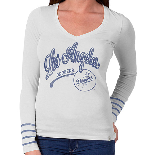 Los Angeles Dodgers '47 Women's Rivalry Long Sleeve V-Neck T-Shirt - White