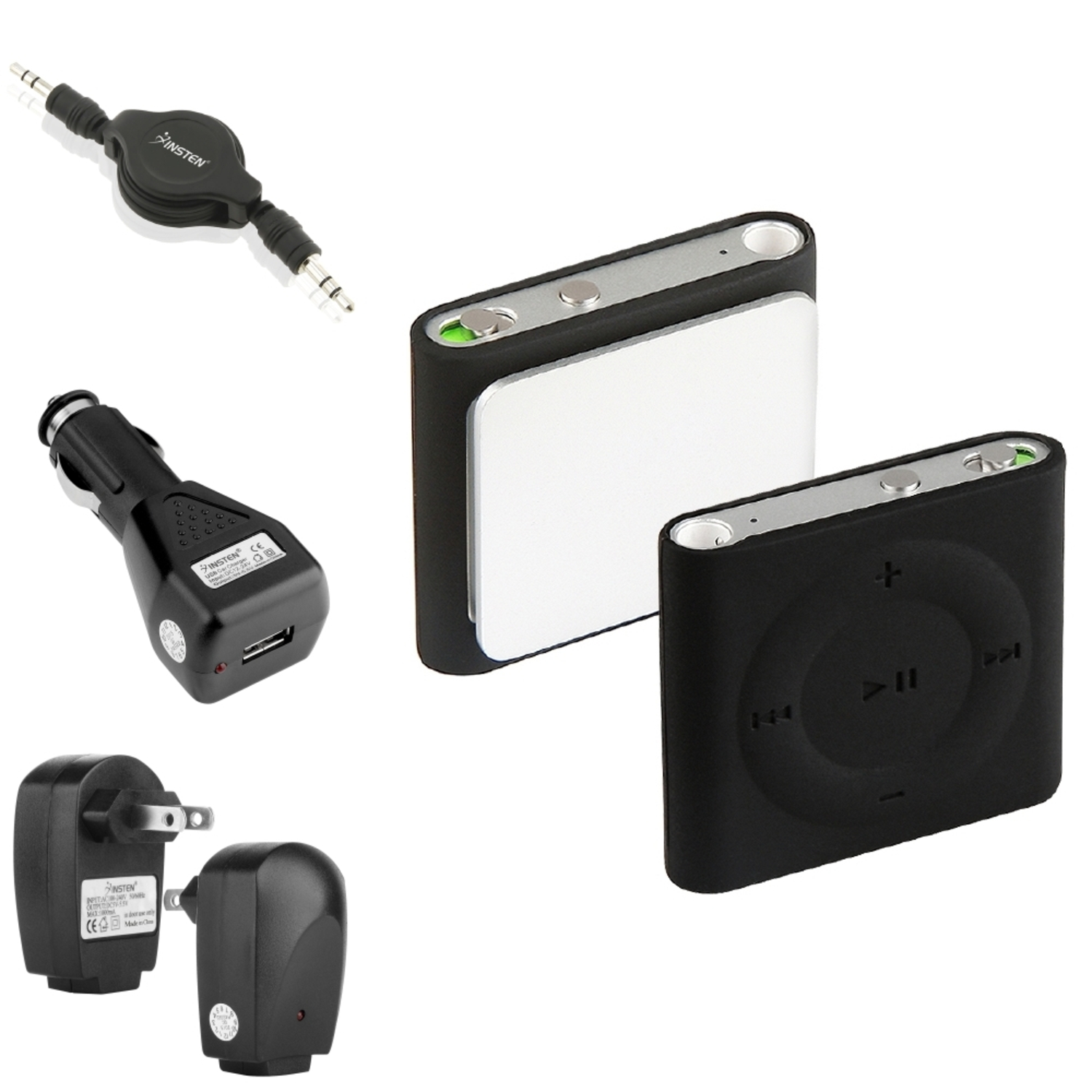 Insten Soft Case+2 Charger+Cable for iPod shuffle 4th 4G