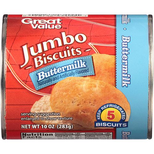 Great Value Jumbo Buttermilk Biscuits, 10 oz