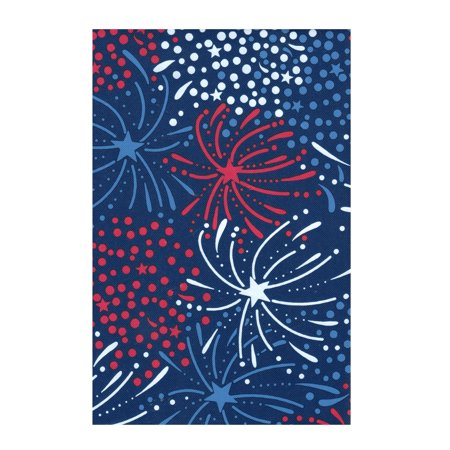 Patriotic July 4th Fireworks PEVA Vinyl Tablecloth Flannel Backed (52 x 90 Rectangle) - Patriotic Table