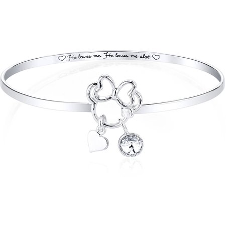 Swarovski Crystal Bangle Bracelet Jewelry (Disney 6mm Clear Crystal Silver-Tone