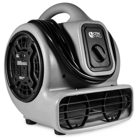 CFM PRO Air Mover Carpet Floor Dryer 3 Speed 1/5 HP Blower Fan with 2 Outlets - Grey - Industrial Water Flood Damage Restoration (Carpet Dryer)