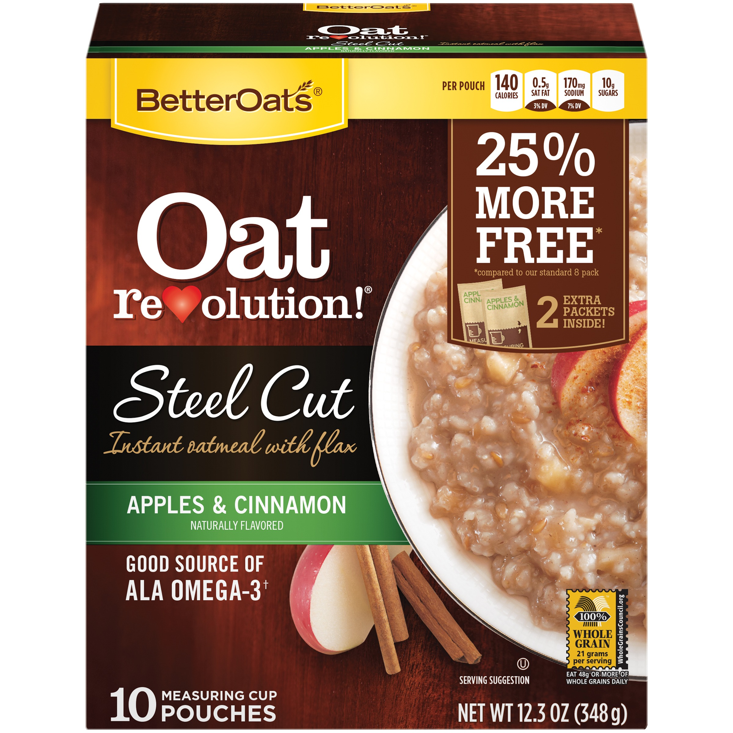Better Oats® Oat Revolution!® Steel Cut Apples & Cinnamon Instant Oatmeal with Flax 10 ct Box