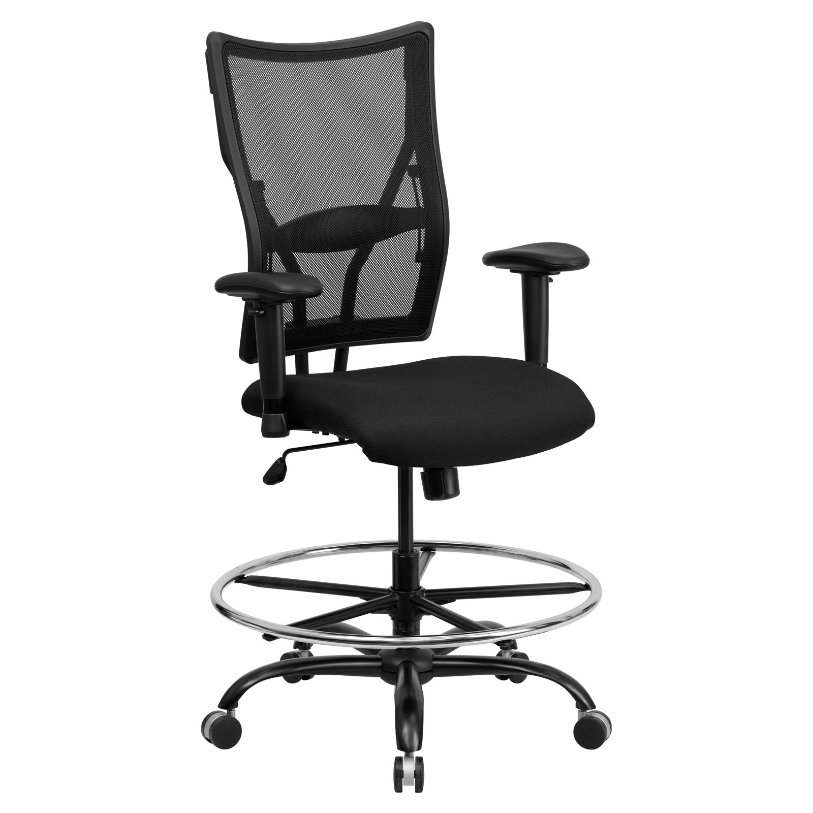 Flash Furniture Hercules Series Big and Tall Mesh Drafting Stool with Arms, Black