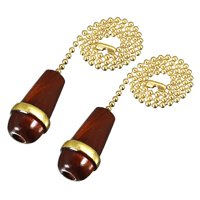 2pcs Walnut Wood Knob Pendant w 12 inch Copper Pull Chain for Lighting Fans