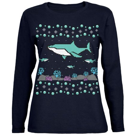 Ugly Christmas Sweater Shark Coral Reef Womens Long Sleeve T Shirt](The Ugly Sweater)
