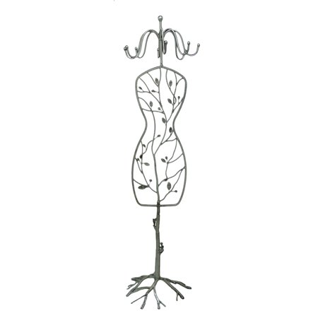 Metallic Silver Branches And Birds Dress Form Coat Rack