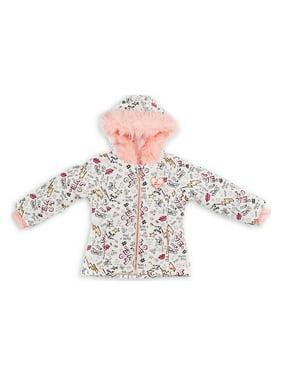 Little Girl's Faux-Fur Graffiti Jacket