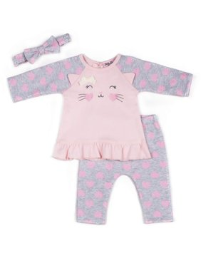 Little Lass Baby Girl Kitty Fleece Top and Printed Fleece Joggers, 2pc Outfit Set