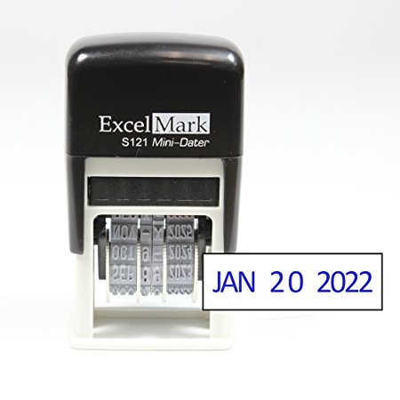 Signature Date Stamp - ExcelMark Self-Inking Date Stamp - S121 (Blue Ink)