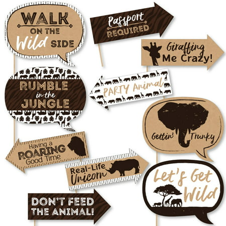 Funny Wild Safari - African Jungle Adventure Birthday Party or Baby Shower Photo Booth Props Kit - 10 Piece](Party City Safari Baby Shower)
