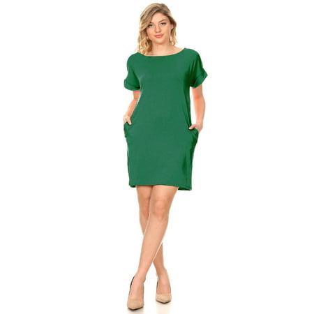 Dress Up Sale (MOA COLLECTION Women's Solid Casual Comfy Soft Roll Up Short Sleeve Relax Fit Pocket Mini Midi)