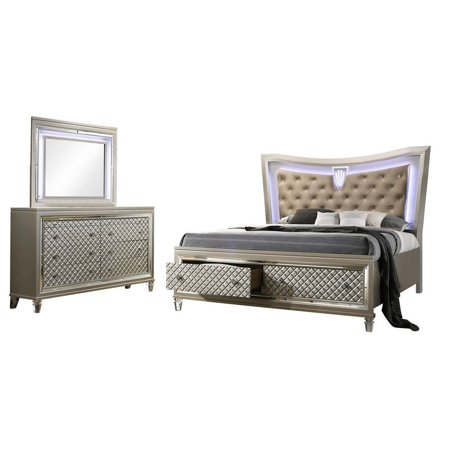 Aviv 3 Piece Bedroom Set, Queen, Champagne Wood, Transitional (Storage Panel Bed, Dresser & Mirror) With Beige Faux Leather Headboard, Acrylic Nouveau Bun Foot Legs & LED Lights ()
