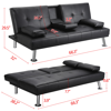 LuxuryGoods Modern Faux Leather Reclining Futon with Cupholders and Pillows, Black