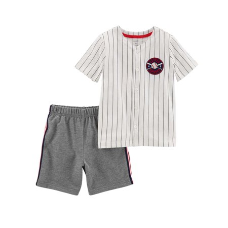 Carters Infant & Toddler Boys 2 Piece Baseball Baby Outfit Shirt & Shorts Set