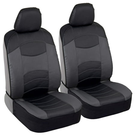 Soft & Smooth Leatherette Sideless Front Car Seat Covers (Black & Charcoal (Charcoal Carpet Dash Cover)
