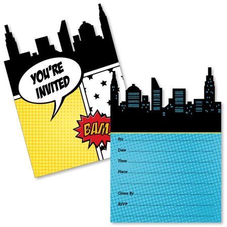 BAM! Superhero - Shaped Fill-In Invitations - Baby Shower or Birthday Party Invitation Cards with Envelopes - Set of 12](Superhero Party Invitations)