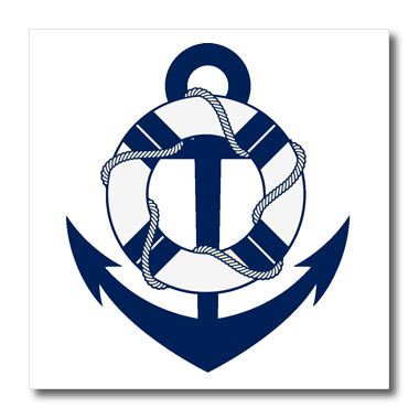 3dRose Blue and White Sailing Anchor With Life Saver - Quilt Square, 6 by 6-inch