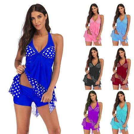 Women Fashion Floral Printed Criss Cross Bikini Sets Summer Two Pieces Tankinis Swimsuits Beach Wear Bathing - Blue Womens Bikini